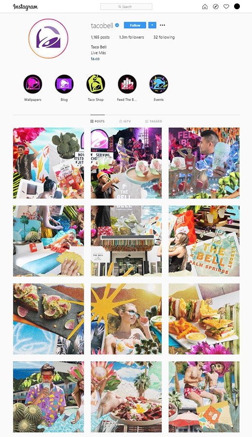 Taco bell uses bright colors and vivid images for Instagram posts